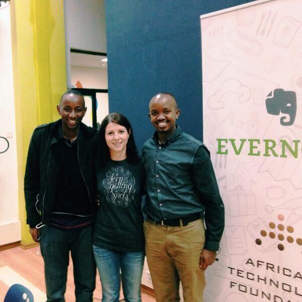 From Left, Edwin Njoroge, Cristina Riesen from Evernote and Martin Njuguna at Evernote Platform Awards Nairobi